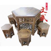 古典红木家具/鸡翅木餐桌/中式六角茶桌/实木茶几/明清六角桌凳