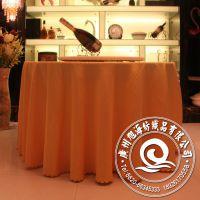 条纹格黄色餐厅水晶台布 圆形 高档西餐桌布台布 外贸出口