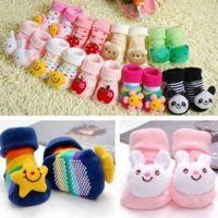 3D新生儿秋冬袜婴儿卡通公仔宝宝立体袜卡通头像防滑胶底地板学步