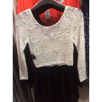 欧美时尚 街头范蕾丝钩花纯色短款长袖T恤 女夏装圆领打底衫罩衫