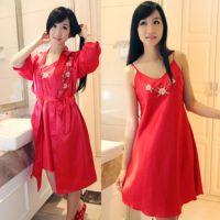厂家直销女士家居服 绣花吊带性感睡裙睡袍两件套装 D15668