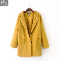 2014冬季新款 大码女装 宽松毛呢单排扣气质加棉大衣外套 女5485