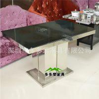 钢化玻璃火锅桌 高档不锈钢火锅台 无烟火锅桌