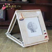 厂家直销地中海风格 原木3寸相框 三连相框木质做旧相框 装饰挂件
