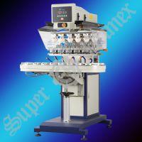 恒晖牌气动输送带六色移印机 SP-868D,六色移印机,6色移印机,6色转盘移印机,套色移印机