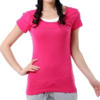 款夏装韩版修身款 AF外贸短袖T恤 女装休闲 三层圆领短袖 女