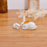混批日式杂货家居瓷器动物摆件 白瓷兔子工艺品 子母兔子迷你花饰