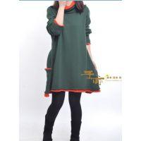 秋冬新款孕妇装 韩版宽松中长款高领两层领毛衣孕妇连衣裙