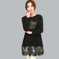 长袖女T恤 2015春时尚大码女装 韩版蕾丝拼接中长款打底衫883036