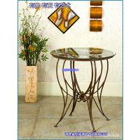 滢发 欧式 铁艺桌子 创意茶几 玻璃桌面 餐厅座椅 可定做 促销。