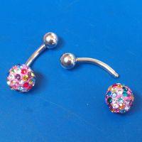 外贸饰品厂家直销可定制不锈钢人体穿刺饰品女款七彩钻满钻脐钉