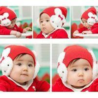 韩国官网同步可爱的大兔子宝宝帽/线帽护耳/儿童帽 保暖帽 5色