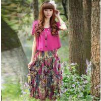 2014春夏新款韩版修身显瘦碎花雪纺连衣裙 假两件波西米亚长裙
