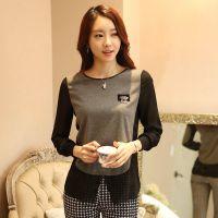 2014秋季新款PU皮雪纺拼接圆领T恤女长袖打底衫韩版假两件T恤