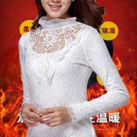加绒加厚2014秋冬装新款韩版大码女装上衣蕾丝打底衫长袖蕾丝衫潮
