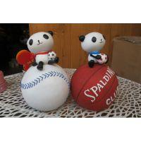 批发供应 创意储蓄罐 树脂工艺棒球熊猫存钱罐 4376