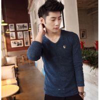 供应新款长袖T恤咖啡色男士纯棉修身韩版V领青年学生男秋装骷髅打底衫