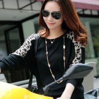 2014秋装新款 中长款长袖T恤 蝙蝠袖豹纹拼接打底衫 宽松大码女装