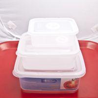 十元店 日用百货厂家批发微波炉保鲜3件套方形透明塑料便当冷冻盒