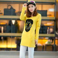 2014秋冬新款加绒加厚T恤韩版女装中长款骷髅头 圆领打底衫T恤