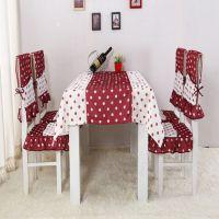 新款韩版田园圆圈波点餐椅垫 餐桌布套装 布艺餐椅垫批发
