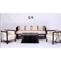 花鸟画布艺艺术沙发 江南风格客厅沙发 创意中式沙发组合 后现代仿古沙发