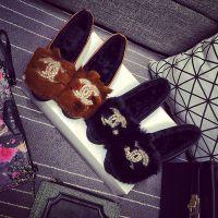 新款冬季仿真皮女鞋豆豆鞋加绒鞋保暖鞋休闲鞋妈妈鞋平底单鞋代理