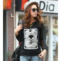 2014春装新款韩版女印花骷髅头棉V领纽扣T恤网纱长袖打底衫