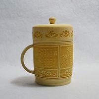 巨匠厂家定制天然西式环保原竹带把带盖全雕刻竹茶杯水杯旅游工艺品