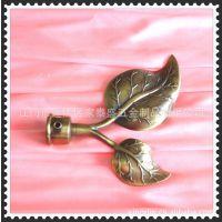 专供出口铁艺窗帘杆及配件,电镀两树叶窗帘杆饰头供您选购!