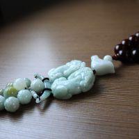 天然缅甸翡翠玉大貔貅木珠车挂