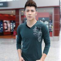2014新款秋装男装韩版修身时尚V领纯棉长袖T恤网店代理一件代发