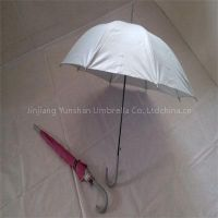 YS-0077Solid Silver 20 inch Rattan Handle Kids Umbrella