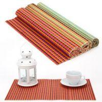 七彩竹垫 有效的隔热 厨房 餐垫/杯垫 不必担心桌布被烫坏 餐垫