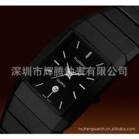 韩版方形情侣陶瓷手表 厂家批发定制 带日历进口机心外贸流行手表
