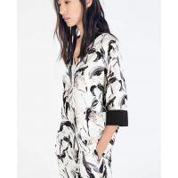 2014欧美风ZA水墨印花蝙蝠七分袖T恤和服 宽松上衣衬衫女G7-1705