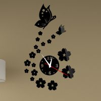 【速卖通淘宝货源】亚克力立体镜面挂钟炫彩黑蝴蝶艺术钟表zb095