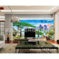 仿真国画装修风格|中式富贵牡丹电视沙发背景墙画|酒店公司