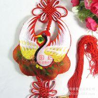 厂家直销过年装饰香包仙鹤蝴蝶(多色)单面刺绣中国结挂件批发定制