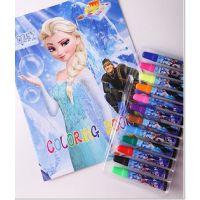 迪士尼冰雪奇缘FROZEN 公主12色卡通水彩笔儿童填色图画册文具
