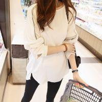 韩国代购 2014秋装新款潮韩版大码女装修身显瘦打底衫长袖T恤 女