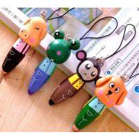 厂家 创意 木制卡通动物随身笔 挂件 圆珠笔 动物挂件笔