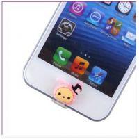 马戏团iphone5专用按键贴+数据口塞 小象轻松熊卡通防尘塞