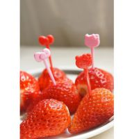 凯蒂猫迷你实用猫头+蝴蝶结造型 水果签 水果叉餐具 一套8支