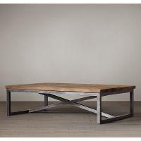 美式乡村铁艺茶几实木茶几桌子防锈复古老茶几LOFT风格做旧书桌