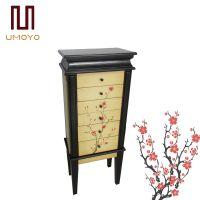 美式彩绘风实木首饰珠宝柜 多功能饰品收纳镜柜 6斗柜 限量包物流
