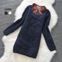 供应外贸原单日单女式秋冬潮流款假两件套格子拼接毛毛绒绒打底衫