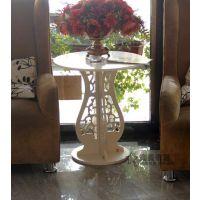 田园雕花镂空圆桌咖啡桌茶几白色象牙白花架韩式茶桌餐桌