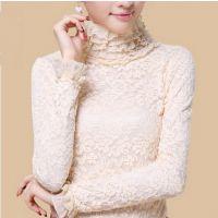 秋冬新款蕾丝衫加绒加厚高领长袖堆堆领蕾丝打底衫女冬
