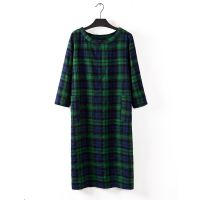 H3-F48胖MM大码女装学院风七分袖格子长款显瘦打底连衣裙  0.25KG